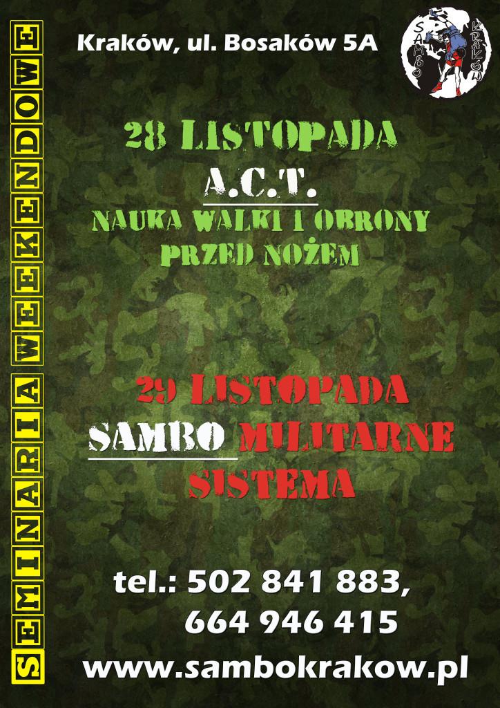 Plakat_sem_ACT&SAMBO_Krakow_28_29_11_2015